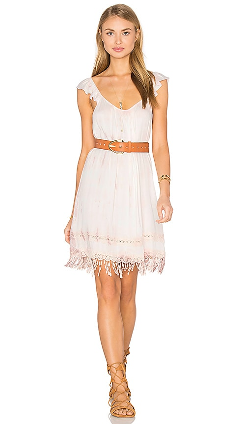 Gypsy 05 Crochet Fringe Dress in Pink
