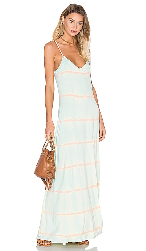 Gypsy 05 Deep V Back Maxi Dress in Turquoise