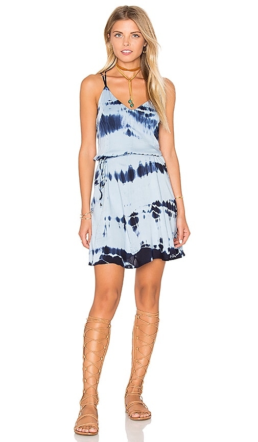 Gypsy 05 Strappy Cross Back Tie Waist Dress in Blue