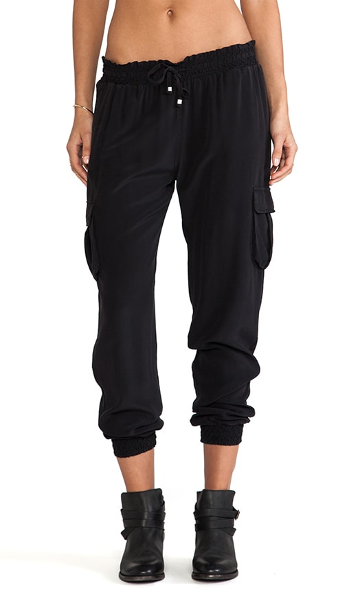 Smoked Silk Drawstring Waist Pants
