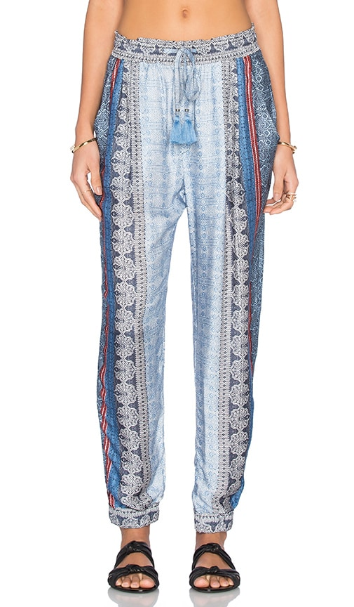 Gypsy 05 Cuffed Leg Ruffle Edge Perfect Pant in Blue