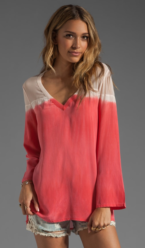 Miyoshi Long Sleeve Sheer V-Neck Blouse