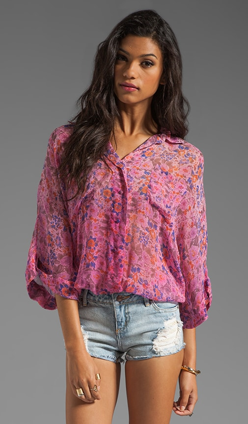Cambridge Floral Print S/S Button Front Oversized Blouse