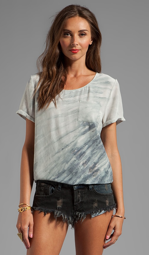 Calvi Mixed Silk Short Sleeve Top With Pocket