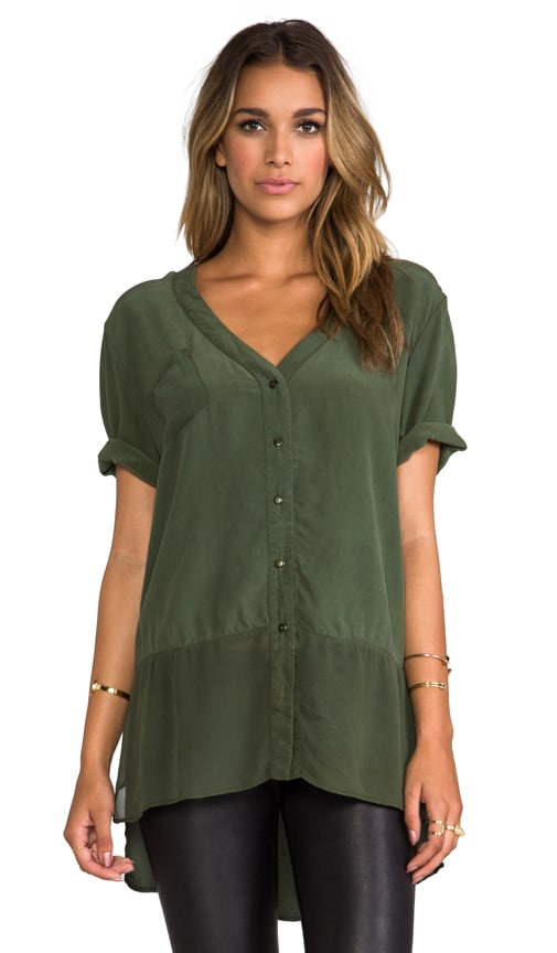 Mixed Silk Button Down Top