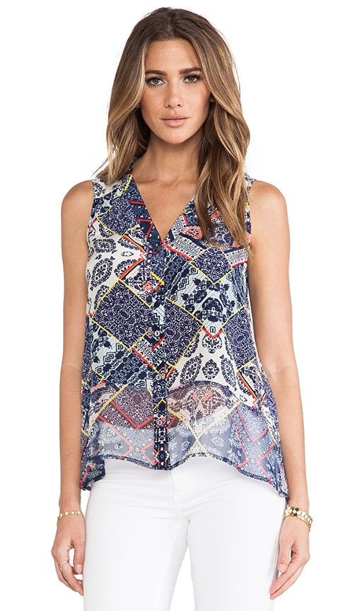 Adari Printed Silk V Neck Tank