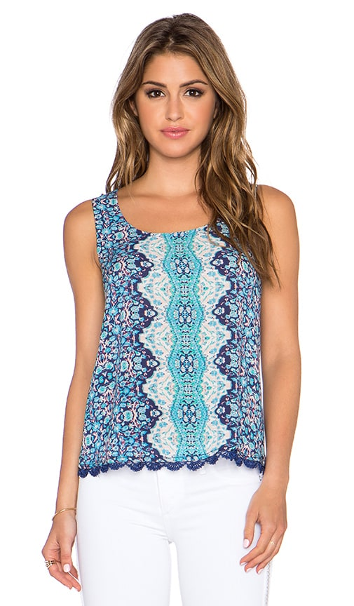 Gypsy 05 Printed Lace Up Back Tank in Blue Multi