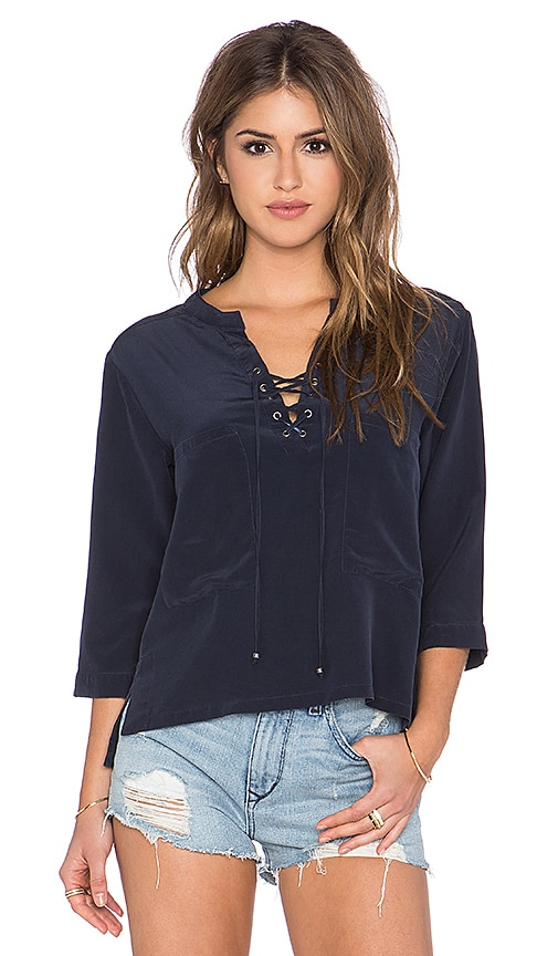 Gypsy 05 Lace Up Blouse in Navy