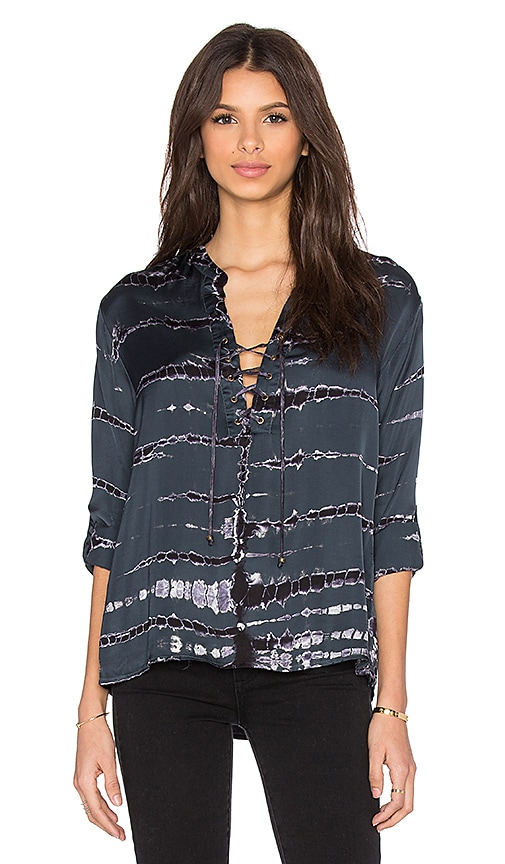 Gypsy 05 Lace Front Long Sleeve Blouse in Blue Ashes