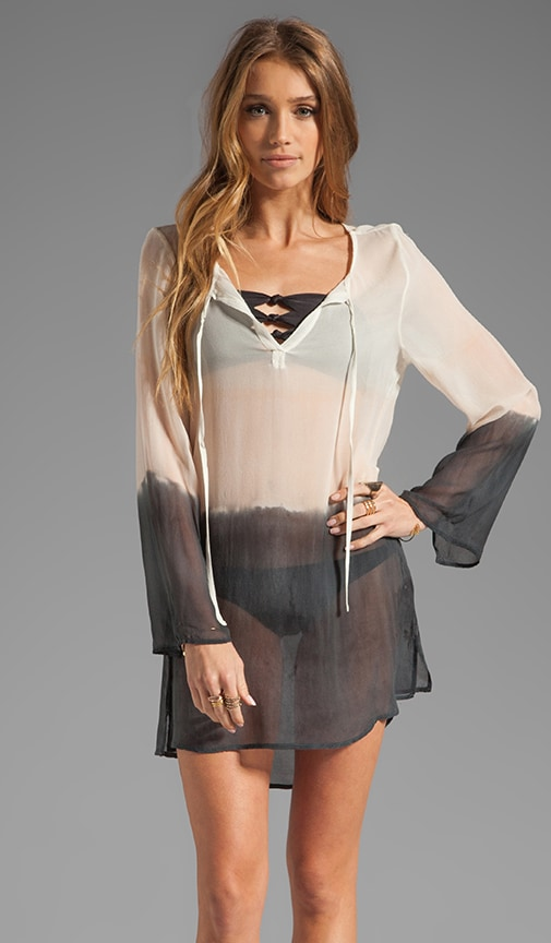 Silk Tie Front Tunic Cover Up