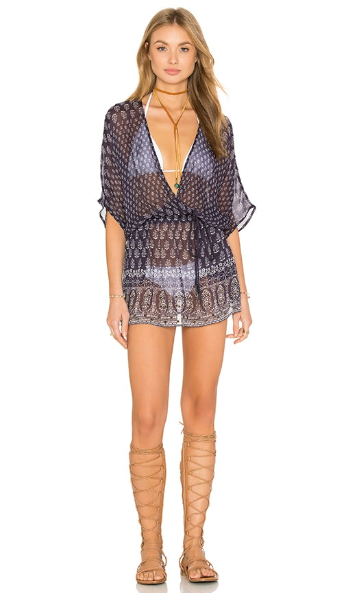 Gypsy 05 Chiffon Wrap Mini Dress in Navy