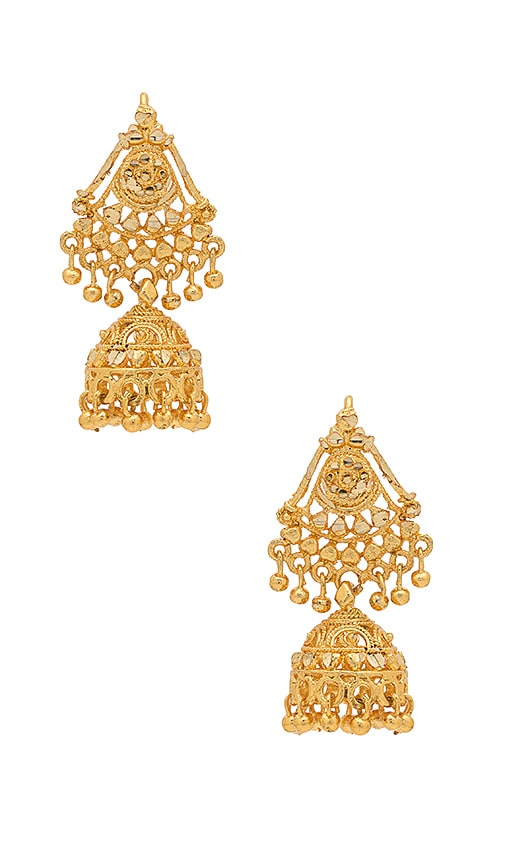 Haati Chai Mahal Earrings in Metallic Gold