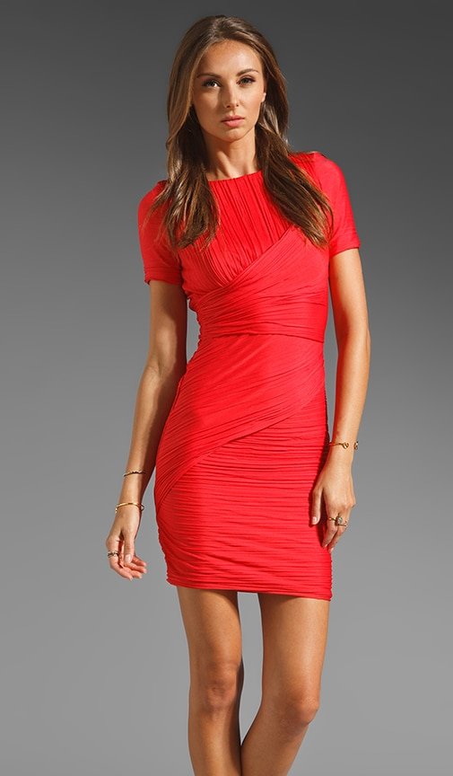 Short Sleeve All Over Pleat Fitted Dress