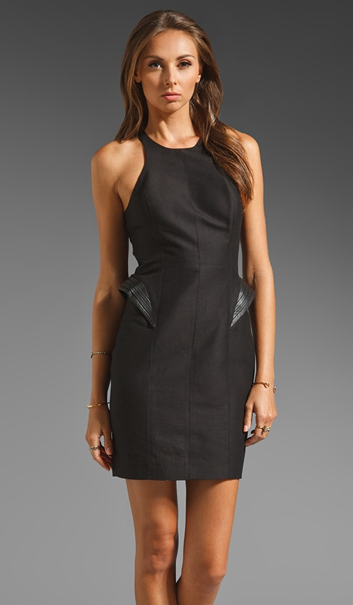 Racerback Silk Cotton Faille Fitted Dress w/ Leather Detail at Hip