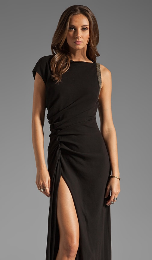 Ruched Side Waist Gown with Leg Slit and Arm Embellishment