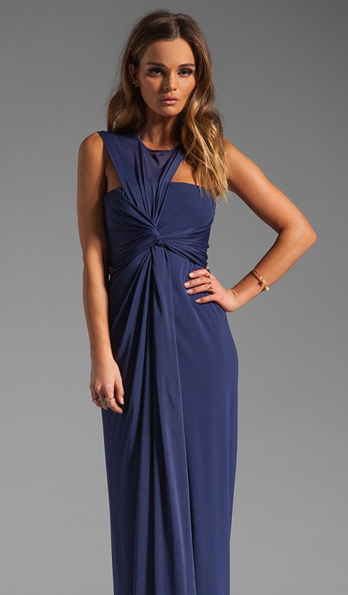 Sleeveless Asymmetrical Side Drape Gown