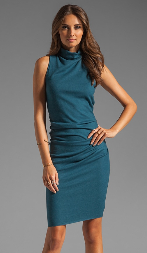 S/L Mock Neck Draped Waist Dress