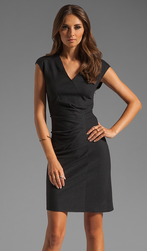 Cap Sleeve V-neck Wrap Wool Dress