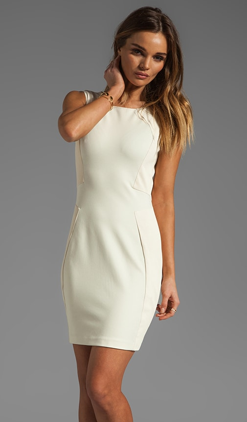 Sleeveless Dress with Leather Trim Detail