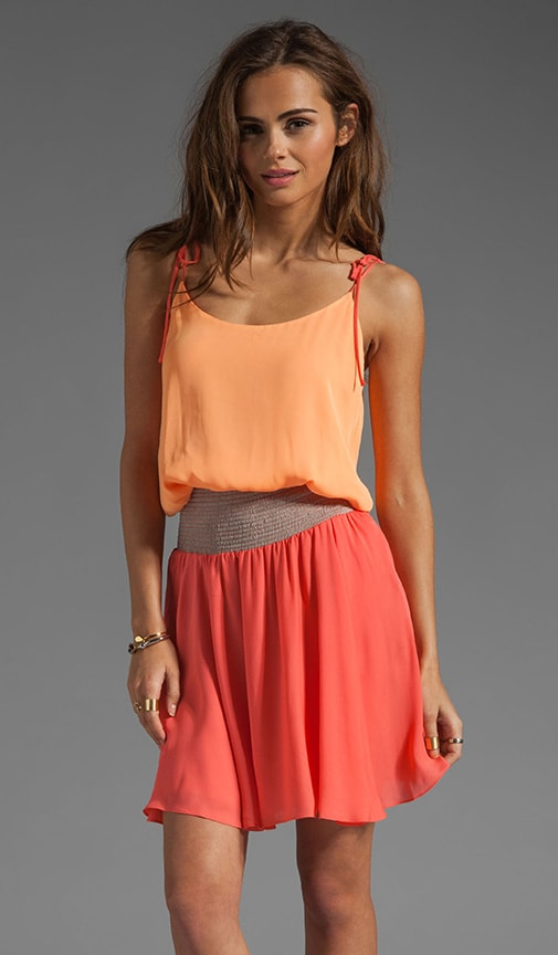 Tie Shoulder Colorblock Dress