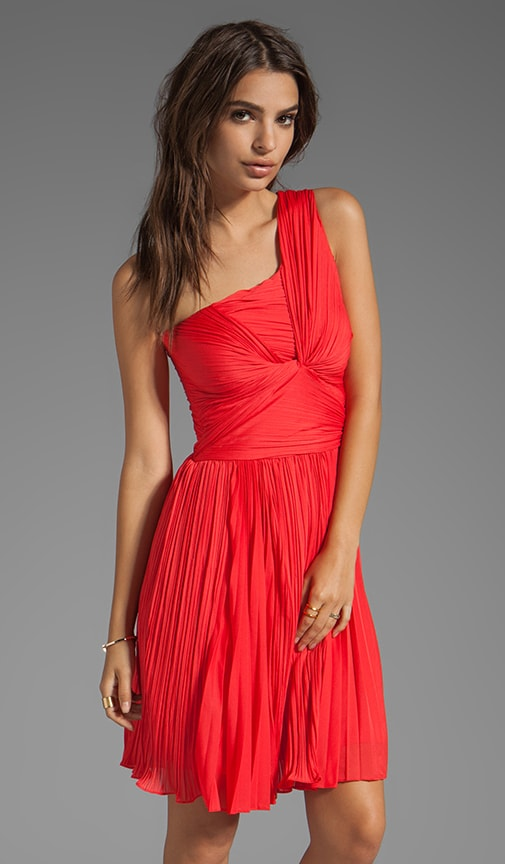 One Shoulder Pleated Dress With Center Twist
