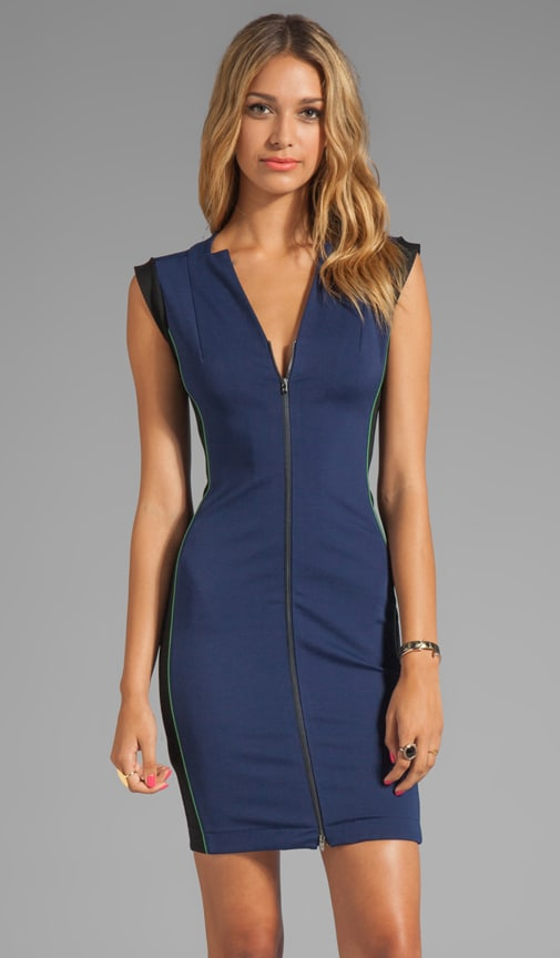 Sleeveless Zip Front Ponte Dress With Colorblock Detail