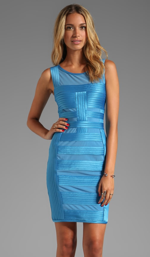 Sleeveless Dress With Charmeuse Gradated Stripes Detail