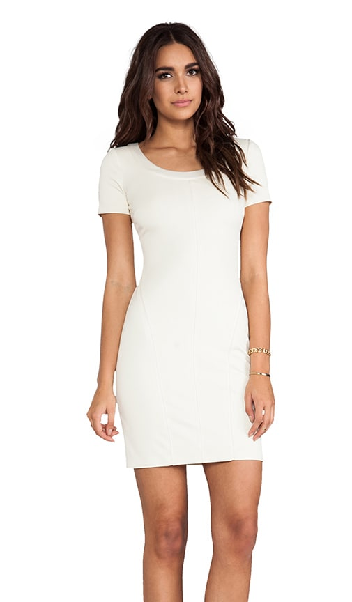Short Sleeve Scoop Neck Ponte With Charmeuse Trim Detail