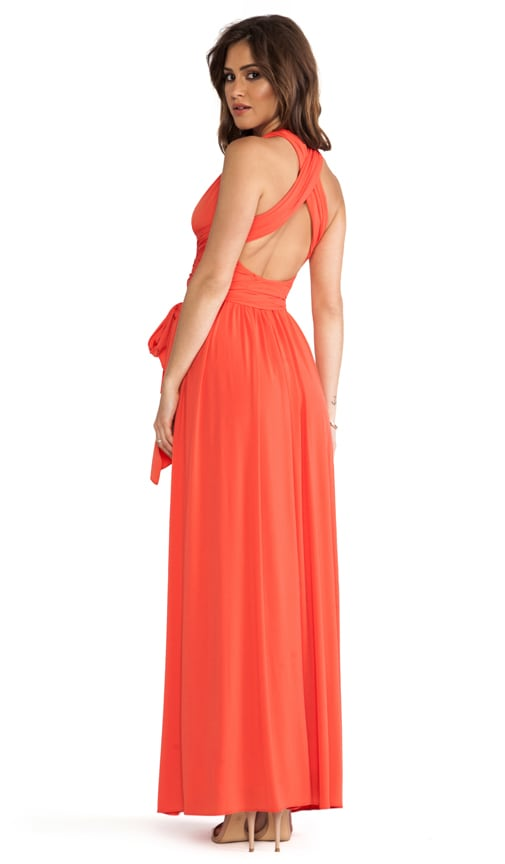 Sleeveless V Neck Gown With Crisscross Detail