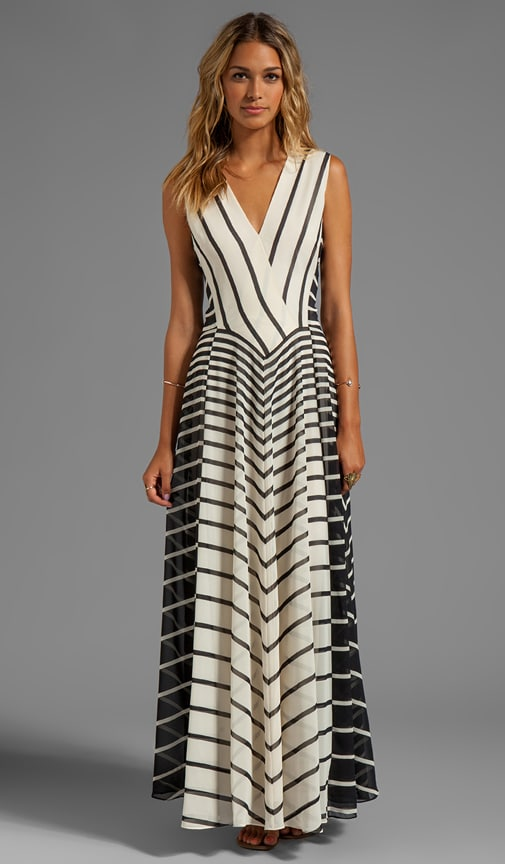 Sleeveless A-Line Stripe Printed Gown