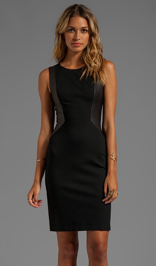 Sleeveless Sheath Dress With Leather Contrast Panels
