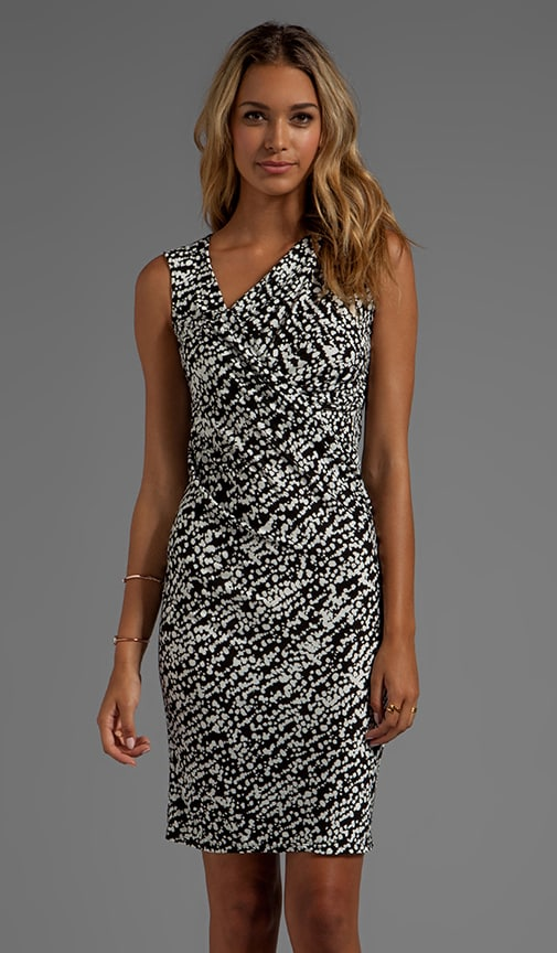 Sleeveless Asymmetrical Neckline Printed Dress With Ruched Detail