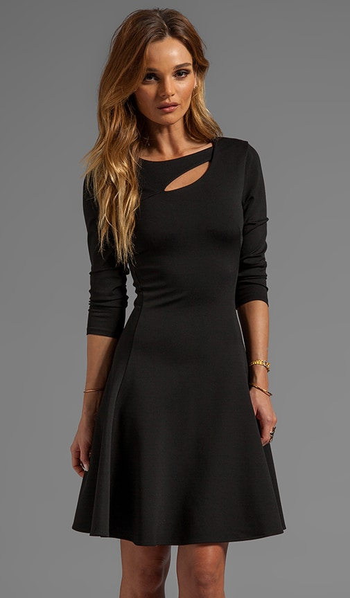 3/4 Sleeve Ponte Dress With Cut Out Detail