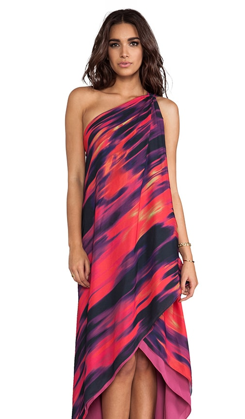 One Shoulder Printed Drape Gown
