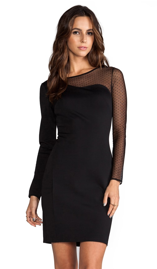 Ponte Sheath Dress with Mesh Contrast