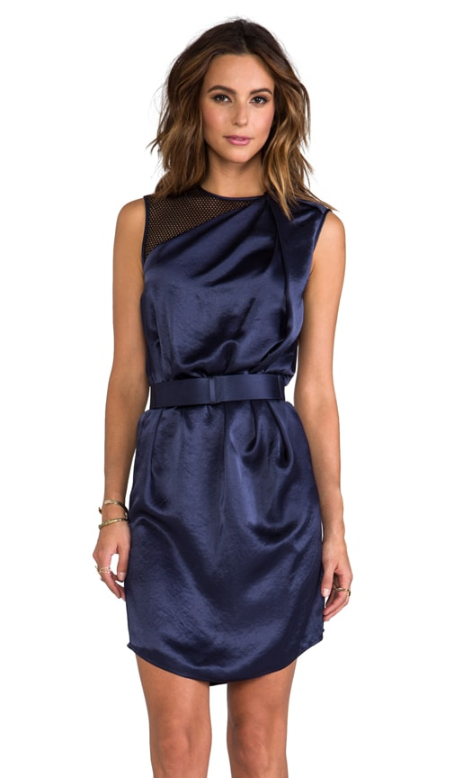 Asymmetrical Neck Belted Drape Dress with Contrast Mesh