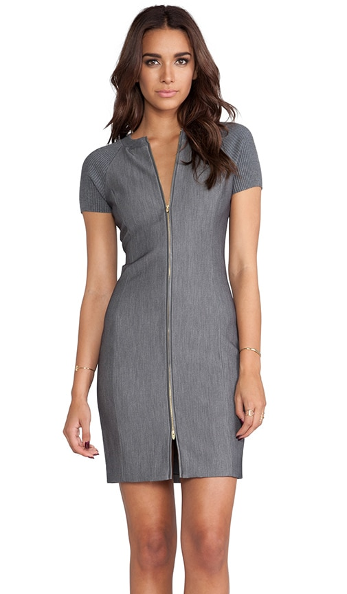 Ribbed Sleeve Fitted Dress
