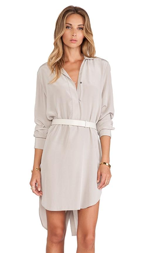 Long Sleeve Shirt Dress With Belt Halston Heritage