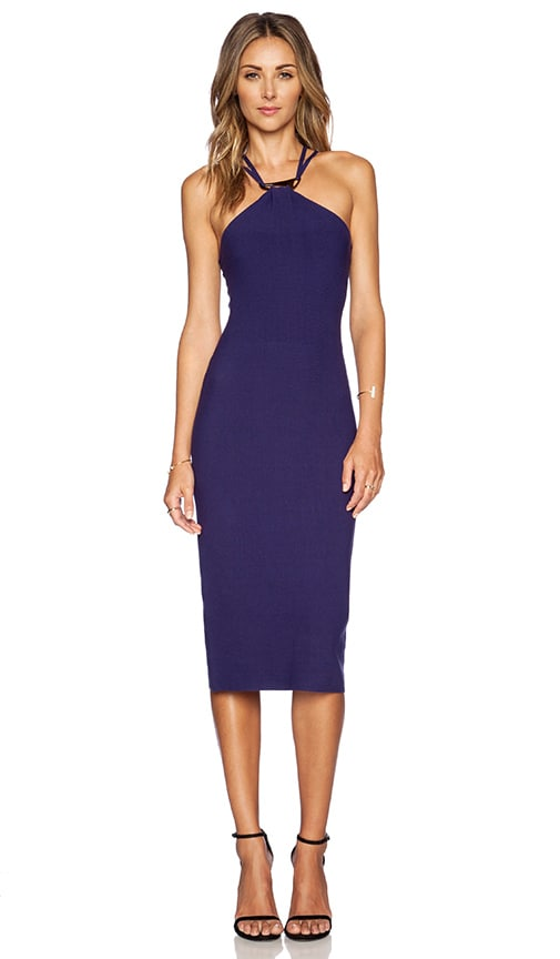 Halston Heritage Halter Sweater Dress in Blue