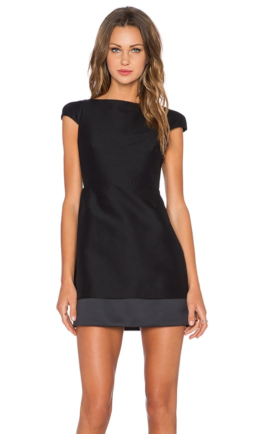 Halston Heritage Cut Out Back Dress in Black