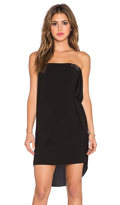 Halston Heritage Strapless Drape Front Dress in Black