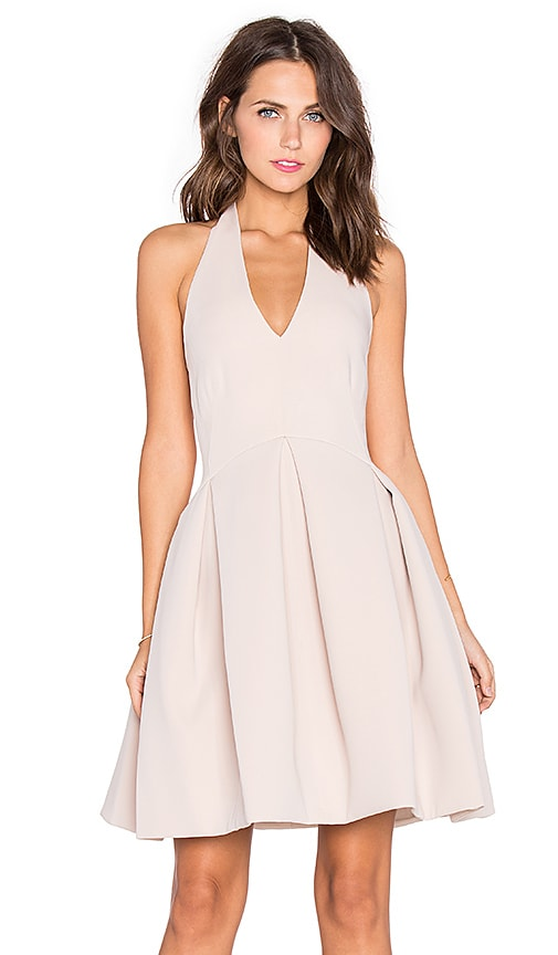 Halston Heritage Fit & Flare Halter Dress in Buff