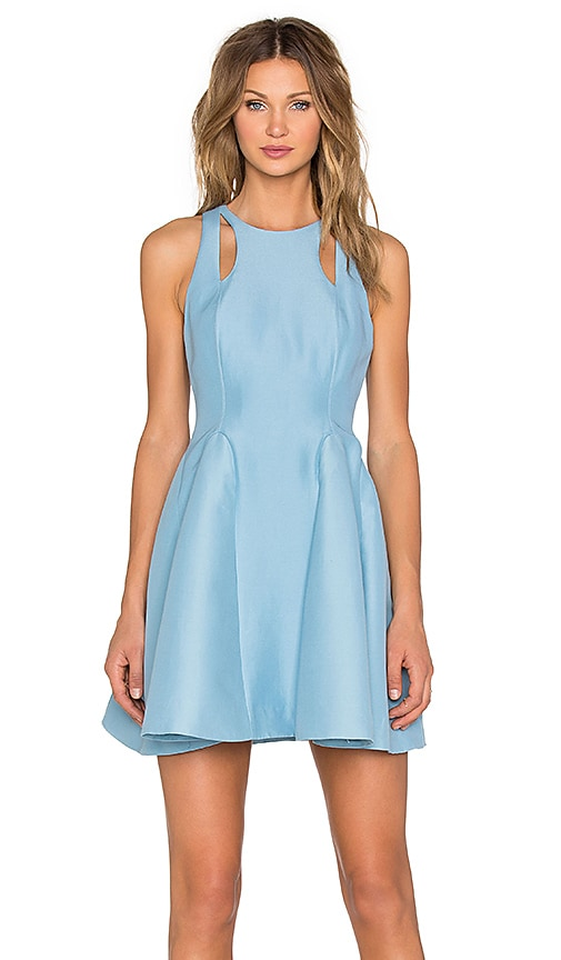 Halston Heritage Cut Out Fit & Flare Dress in Glacier
