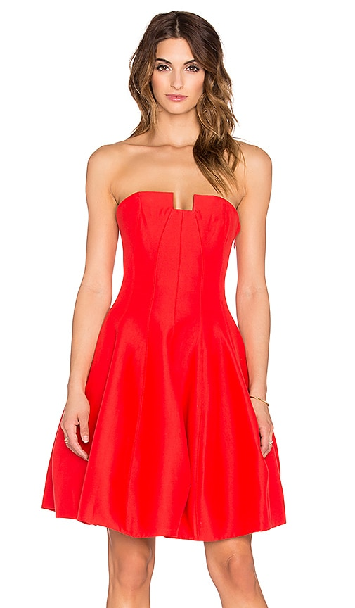 Halston Heritage Strapless Structured Mini Dress in Lipstick