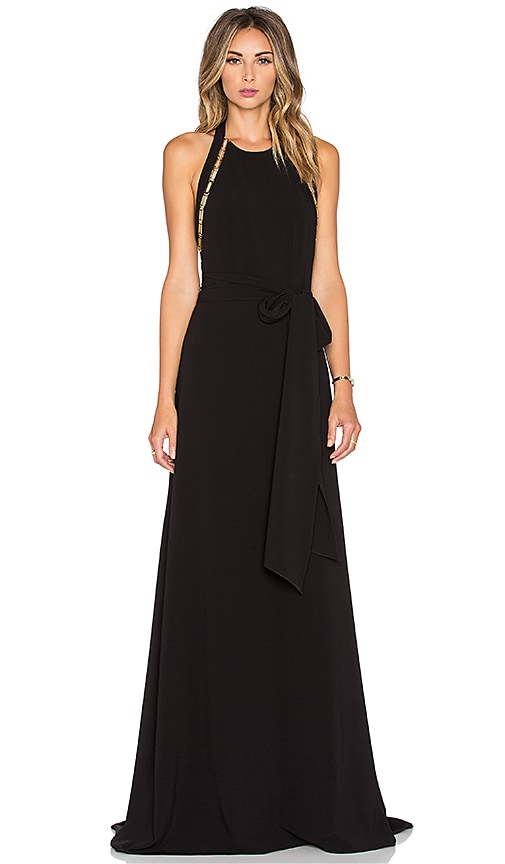 Halston Heritage Sleeveless High Neck Gown in Black