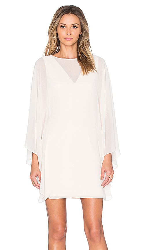 Halston Heritage Sheer Overlay Mini Dress in Parchment