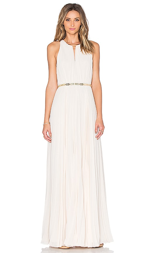 Halston Heritage Keyhole Pleated Maxi Dress in Parchment