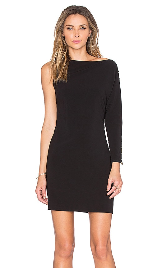 Halston Heritage Asymmetrical Boatneck Mini Dress in Black