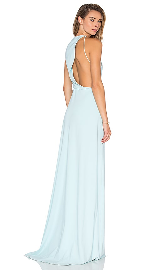Halston Heritage Drape Back Cutout Dress in Blue