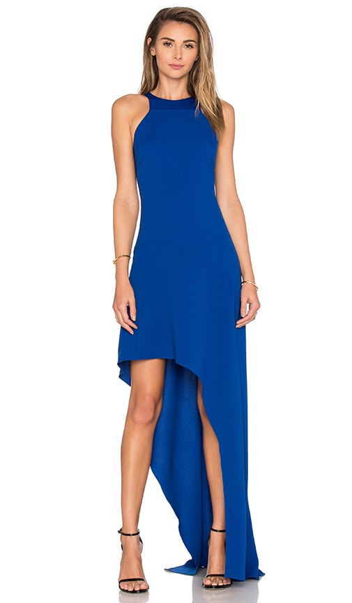 Halston Heritage Open Back Asymmetrical Dress in Blue